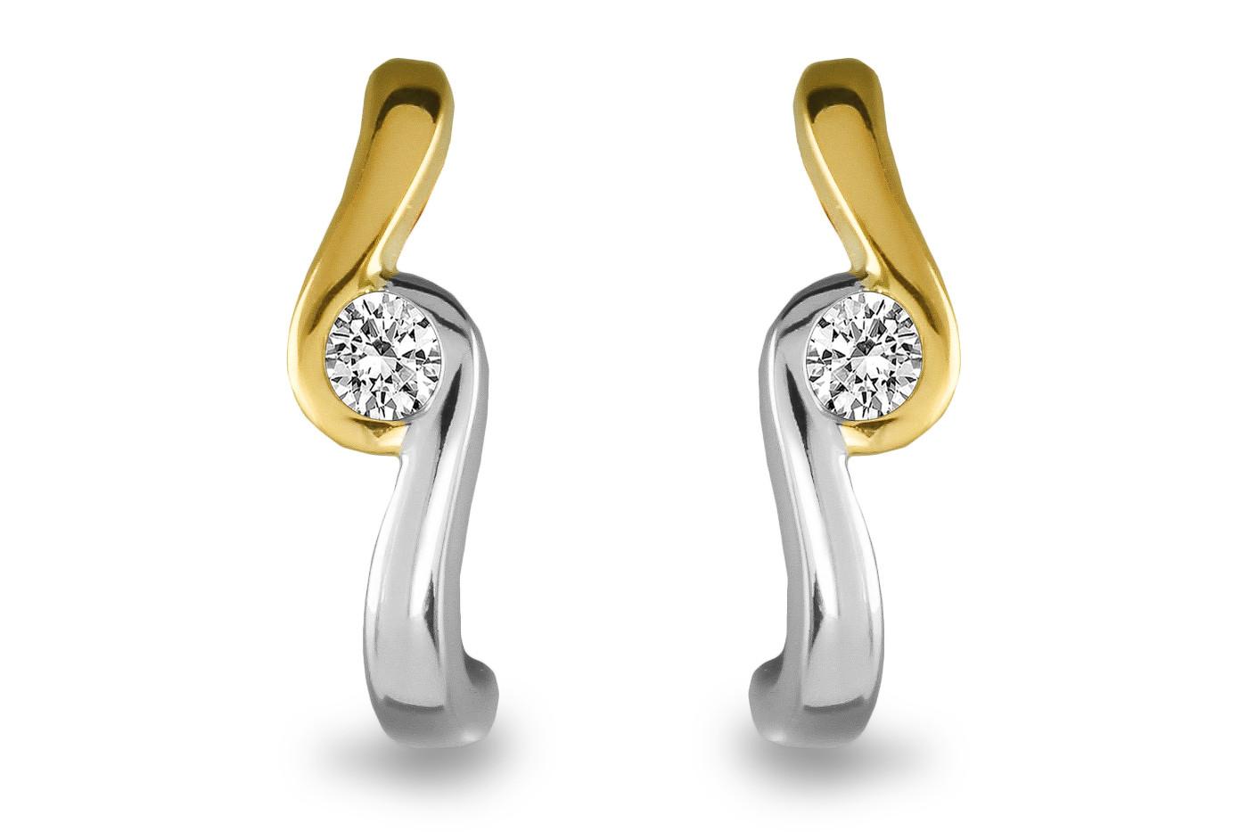 Gouden bicolor oorknoppen 0,19crt SOL-M943-010-G2