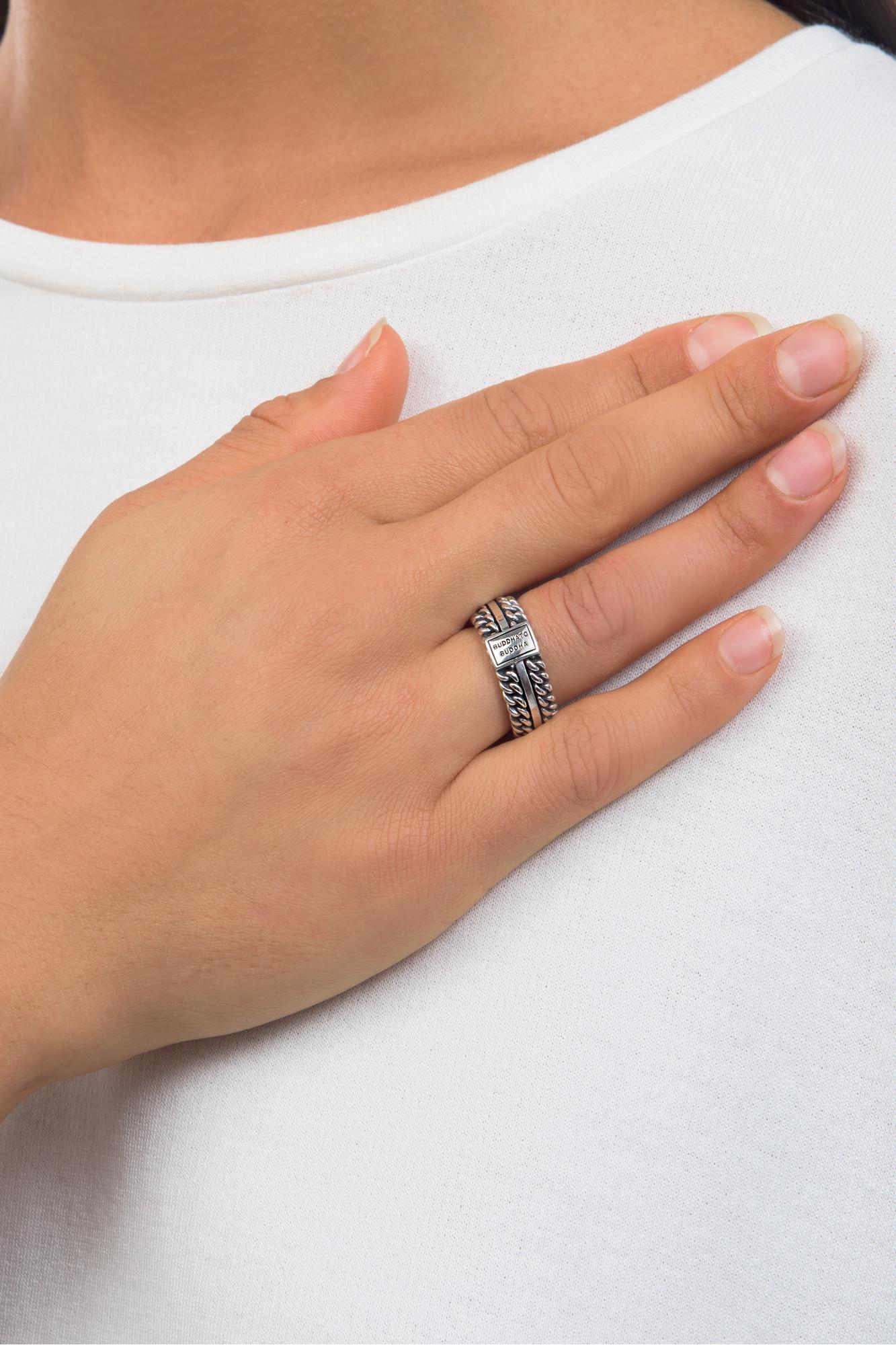 Zilveren ring Texture 788
