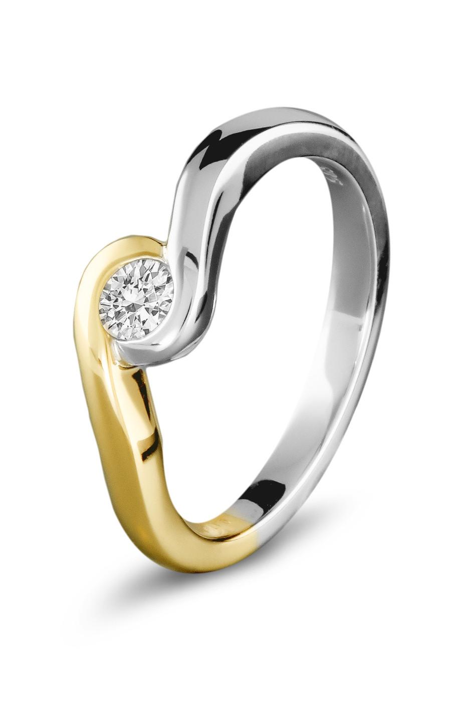Gouden bicolor ring 0,24crt SOL-M945-025-G2