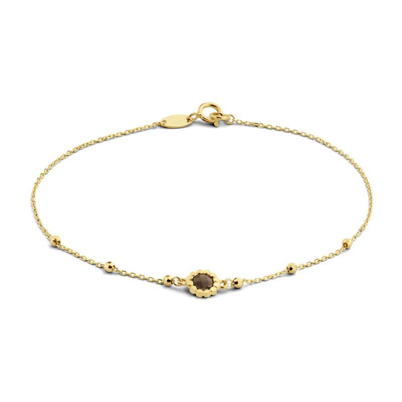 Geelgouden armband met rookkwarts 12B0020