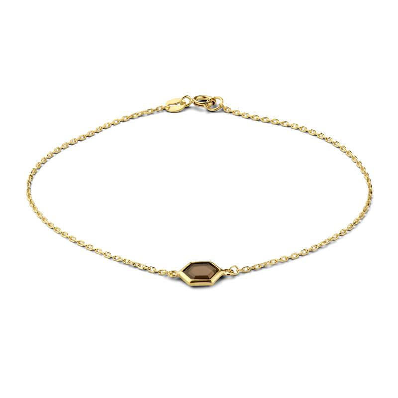 Geelgouden armband met rookkwarts 6B0972