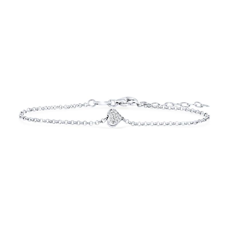 Zilveren armband met zirkonia hart