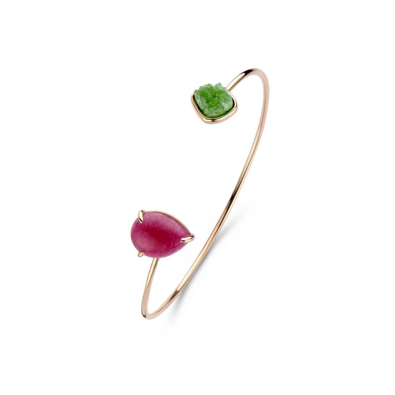 Zilveren armband met roségouden plating en kwarts 241P0003