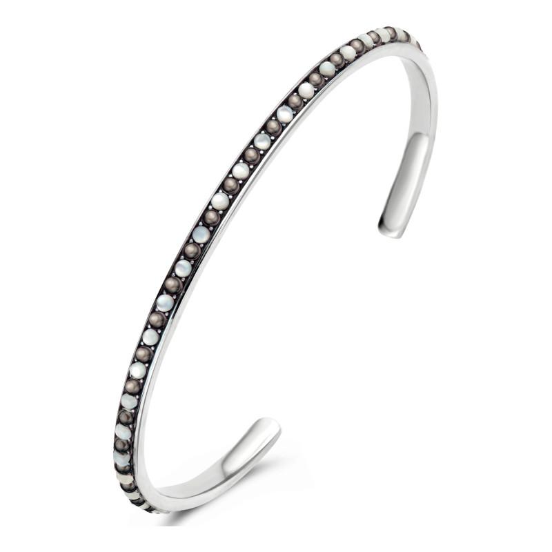 Zilveren bangle met parels 9SY-0074