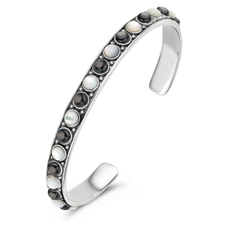 Zilveren bangle met parels 9SY-0081