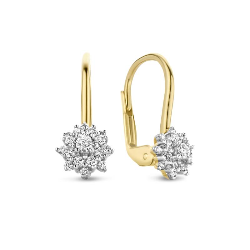 Geelgouden oorhangers 0.29 ct diamant