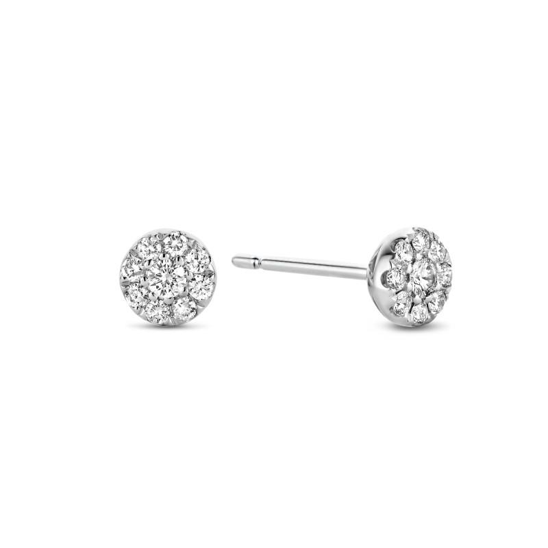 Witgouden oorknoppen met 0.25 ct diamant