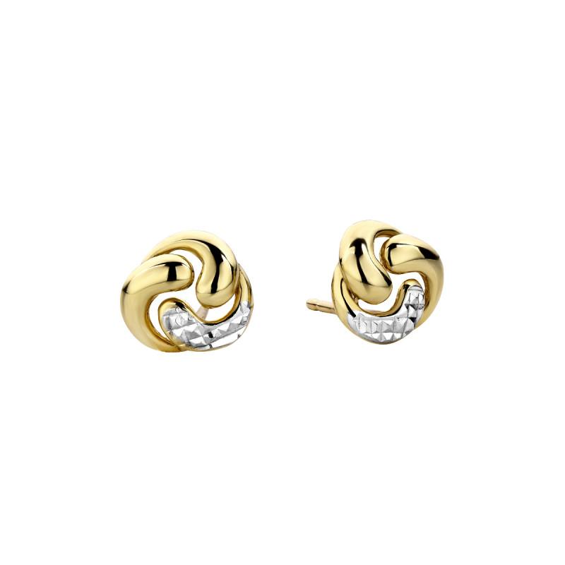 Geelgouden bicolor oorstekers rond X3E207504-YW-DC