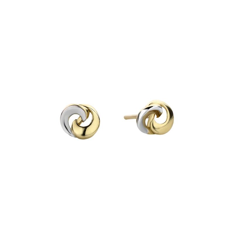 Geelgouden bicolor oorstekers rond X3E511682-YW-GW