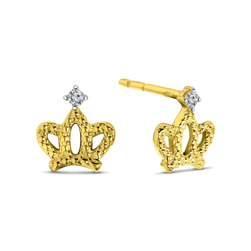 Geelgouden oorknoppen kroon 60169-Z-Y