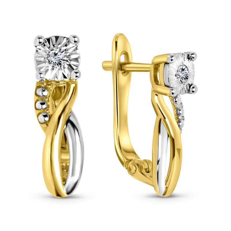 Bicolor diamanten oorstekers 35140-Y