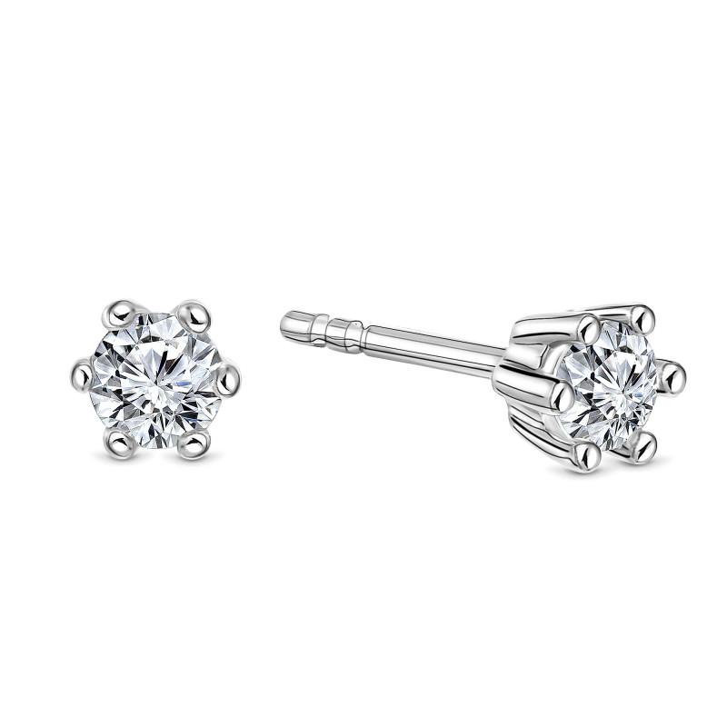 Witgouden oorknoppen met diamant SOL-W543-015-G2