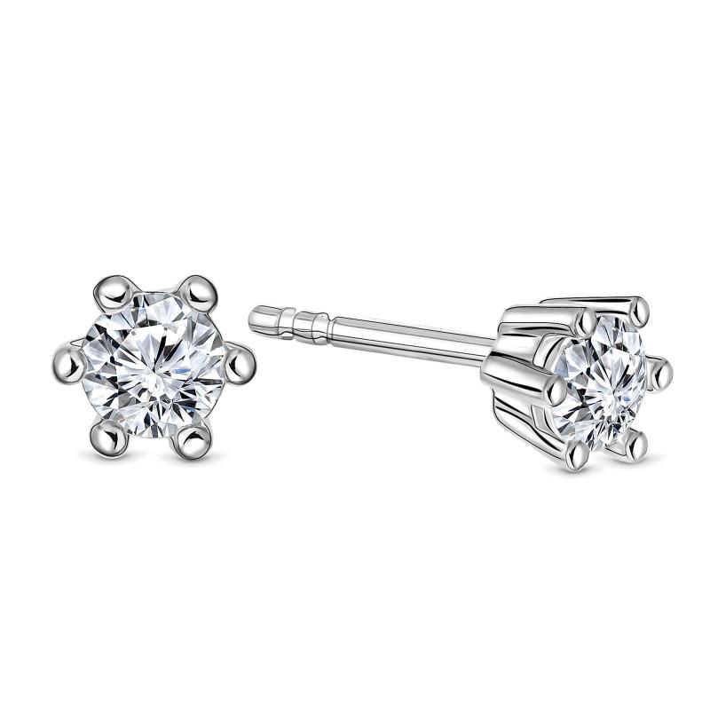 Witgouden oorknoppen met diamant SOL-W544-020-G2