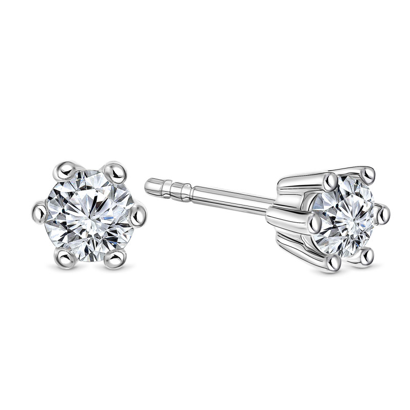 Witgouden oorknoppen met diamant SOL-W545-025-G2