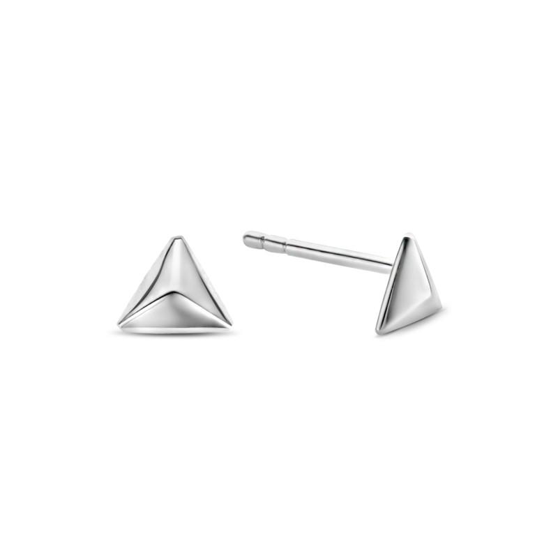 Zilveren oorknoppen Triangle