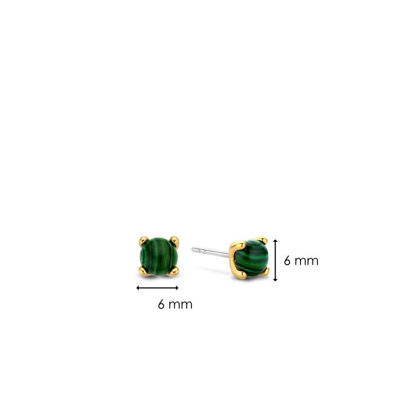 Zilveren oorknoppen met malachiet 7768MA