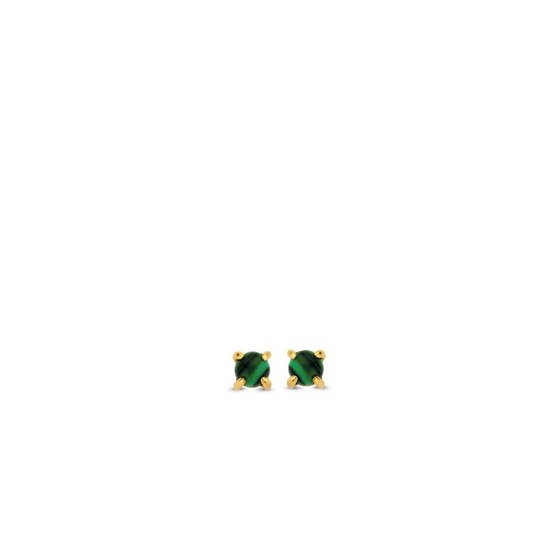 Zilveren oorbellen met malachiet 7833MA