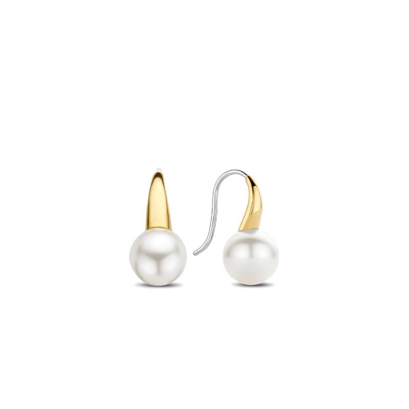Gold plated oorhangers met parel 7849PW