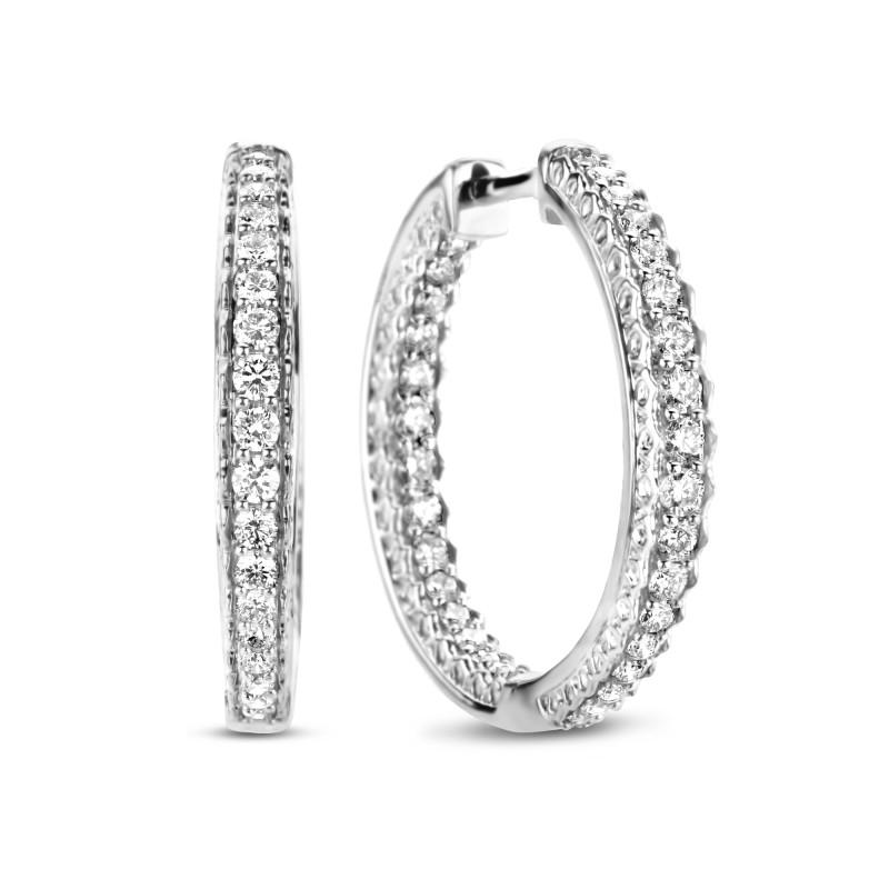Witgouden oorringen met 1.15 ct diamant