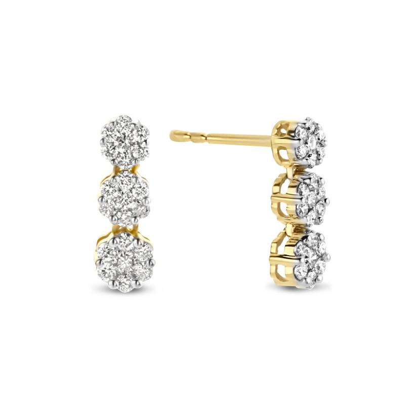 Geelgouden oorknoppen met 0.50 ct diamant