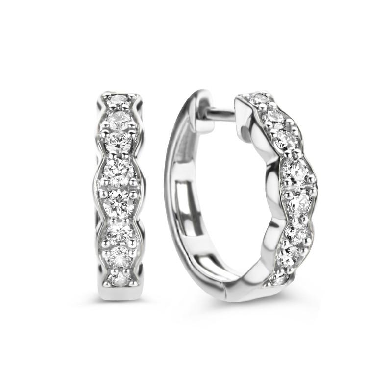 Witgouden oorringen met diamant GGH-008