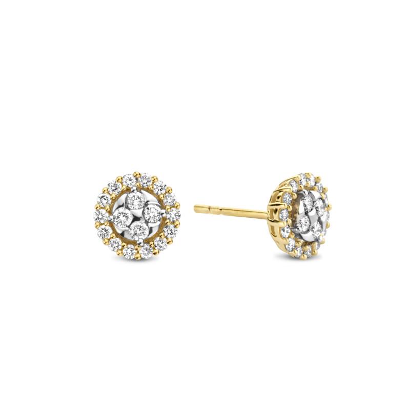 Geelgouden oorknoppen met diamant MG-014