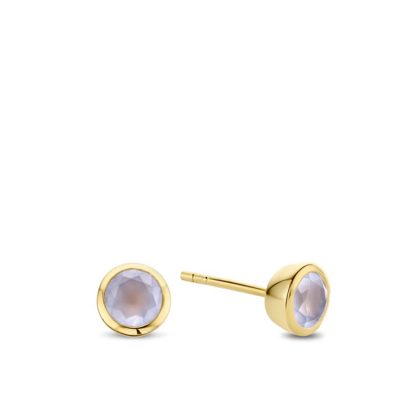 Gold plated oorknoppen met chalcedoon 03.188CA.35