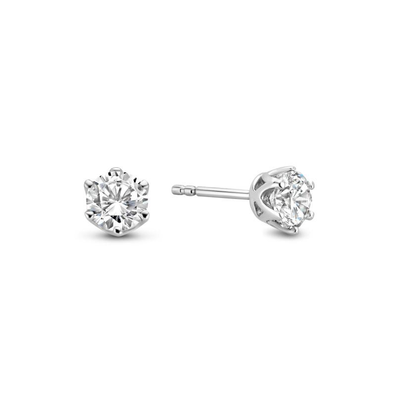 Zilveren solitaire oorstekers met zirkonia steen van 5mm