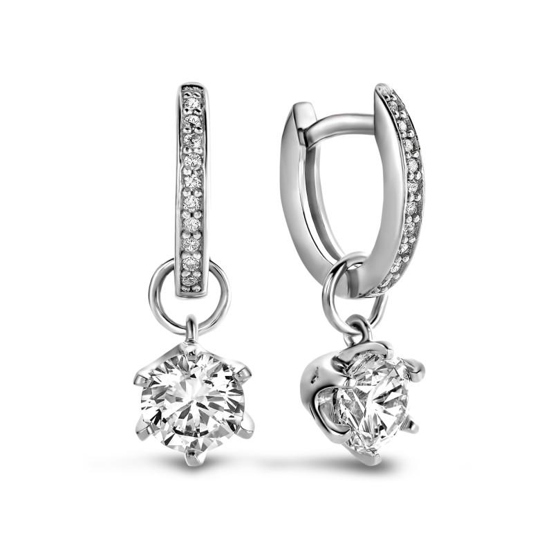 Zilveren oorhangers met zirkonia SGE19302