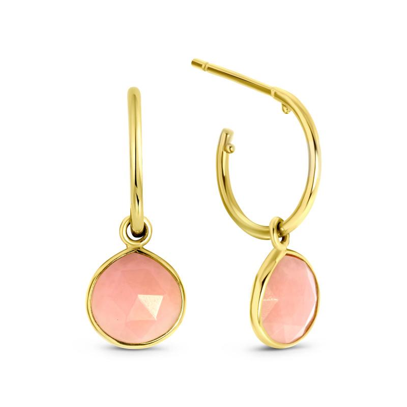 Gouden halfcreolen met opaal EG882-879