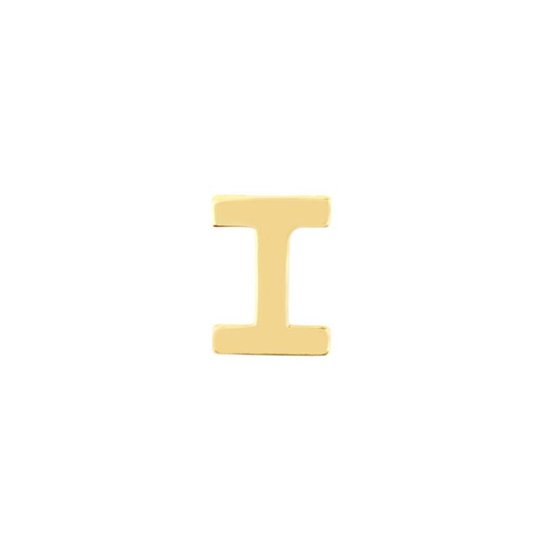 Geelgouden oorknop 'I'