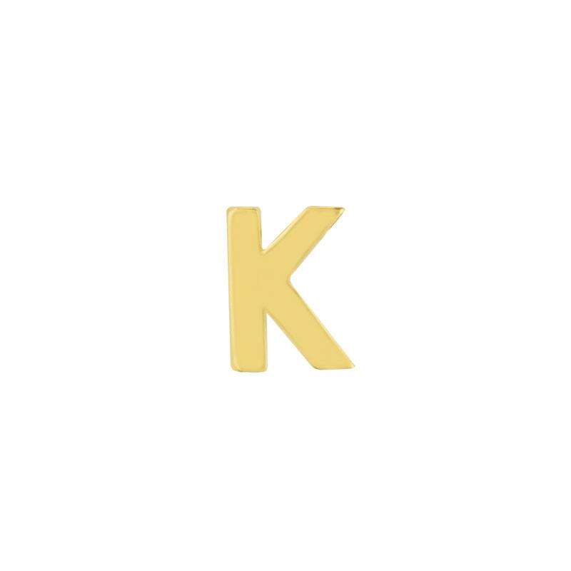 Geelgouden oorknop 'K'