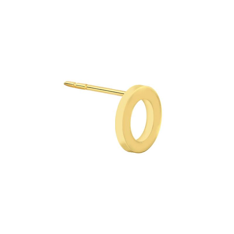 Geelgouden oorknop 'O'
