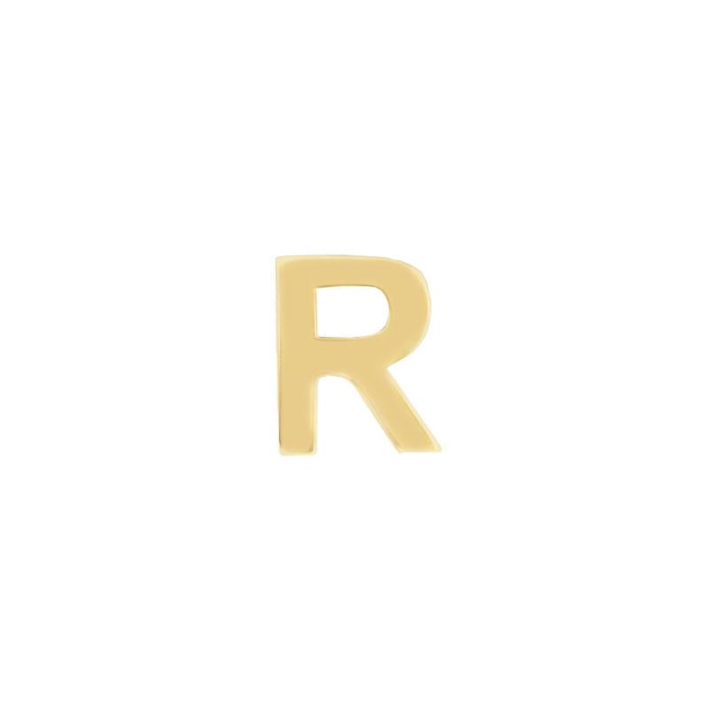 Geelgouden oorknop 'R'