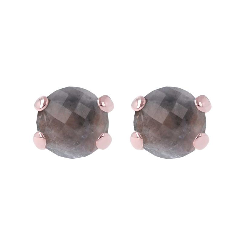 Rosé oorknoppen met kwarts WSBZ00279