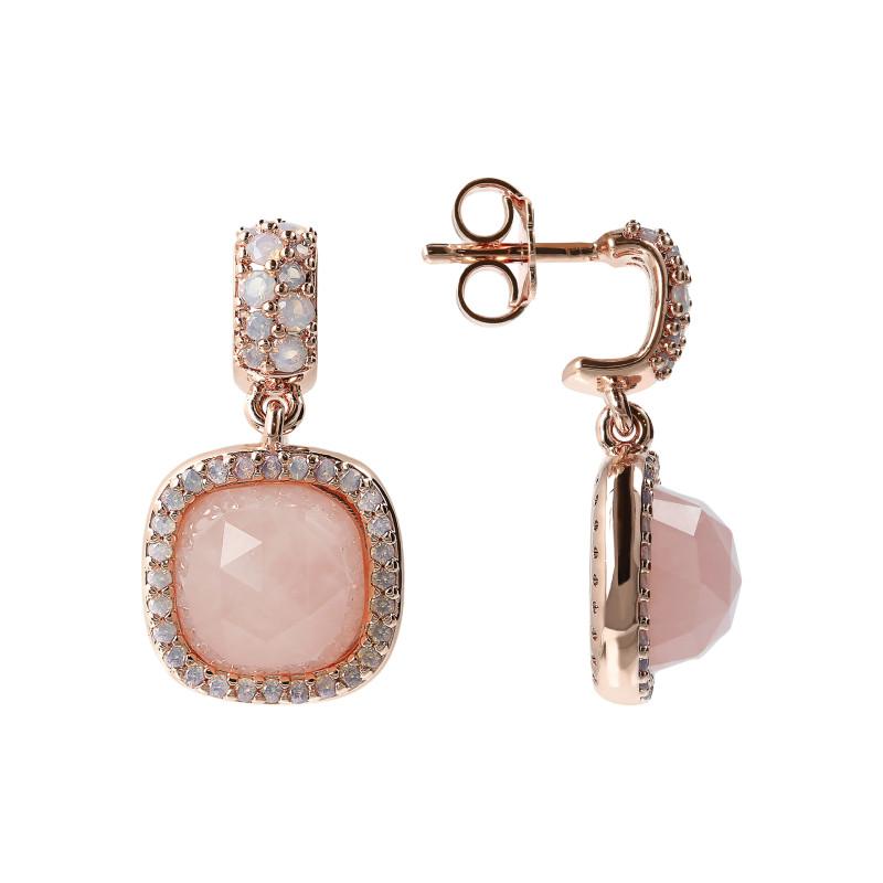 Rosé oorhangers met rozenkwarts WSBZ01312