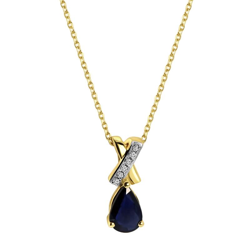 Geelgoud collier met saffier en diamant hanger