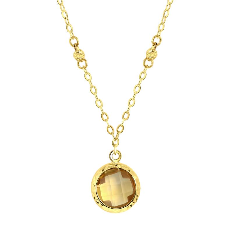 Geelgoud collier met citrien 0004DCSB-CI-Y