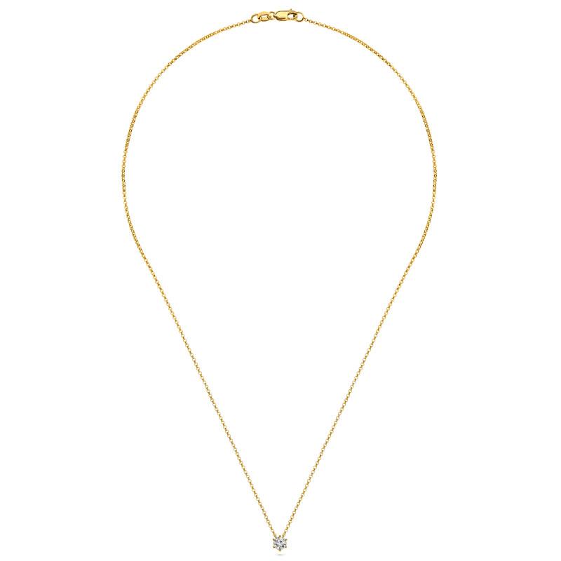 Geelgoud collier met solitair hanger SOL-Y228-025-G2