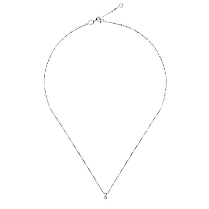 Witgoud collier met solitair hanger SOL-W018-005-G2