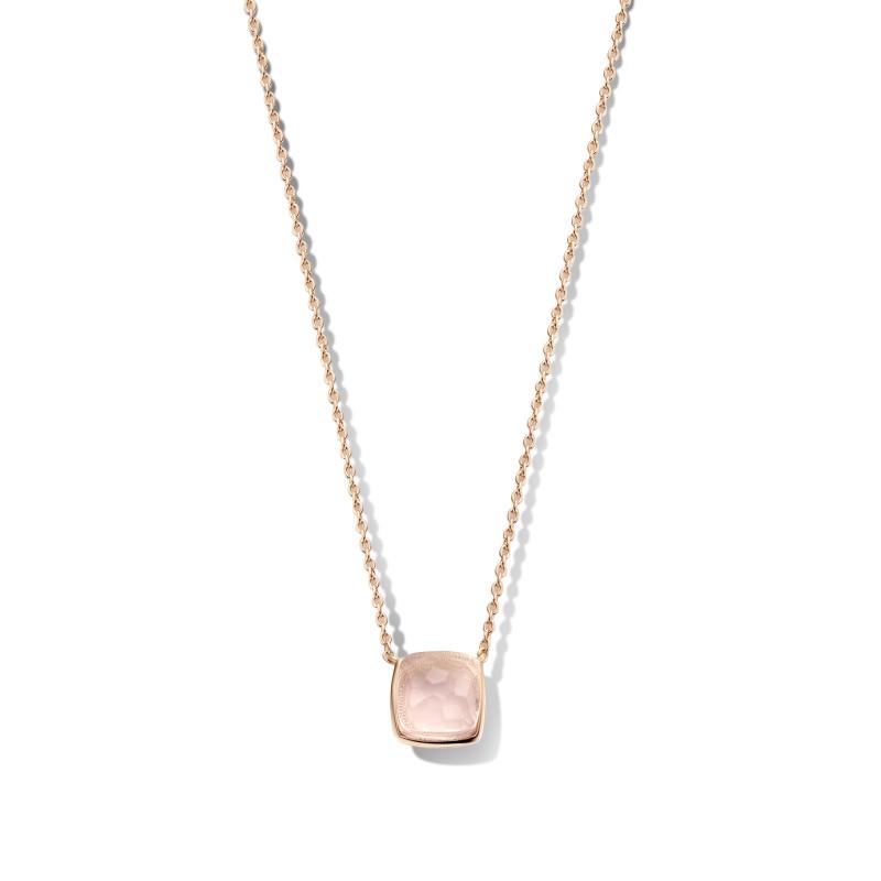 Rosé collier met rozenkwarts hanger 09.446RQ