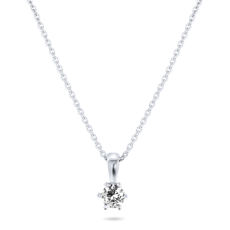 Zilveren collier met zirkonia steen van 4mm