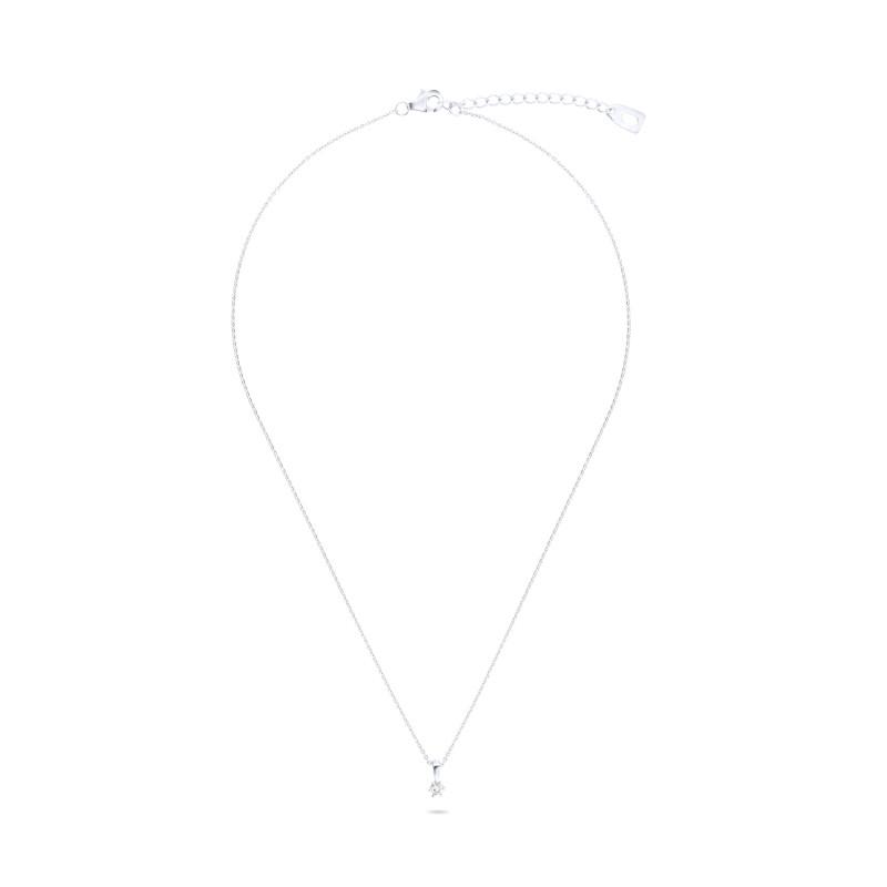 Zilveren collier met zirkonia steen van 3mm