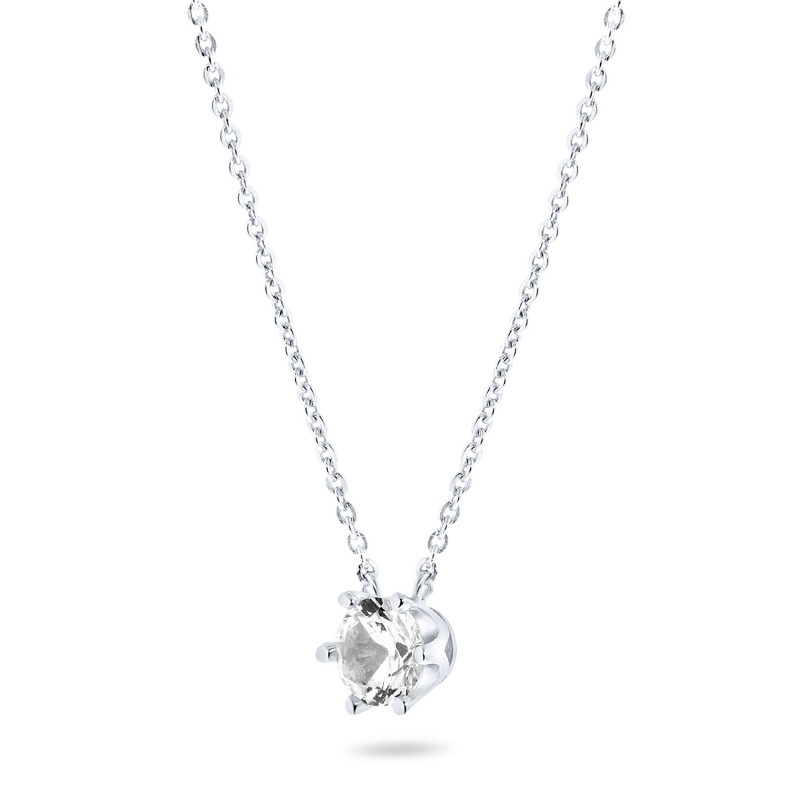 Zilveren collier met zirkonia steen van 6mm
