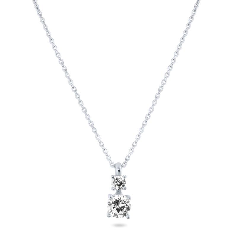 Zilveren collier met 2 zirkonia stenen