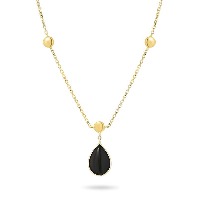 Geelgouden collier met onyx FG882-366