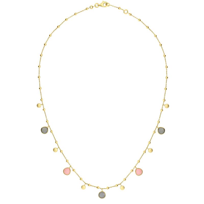Gouden collier met labradoriet en opaal FG882-836