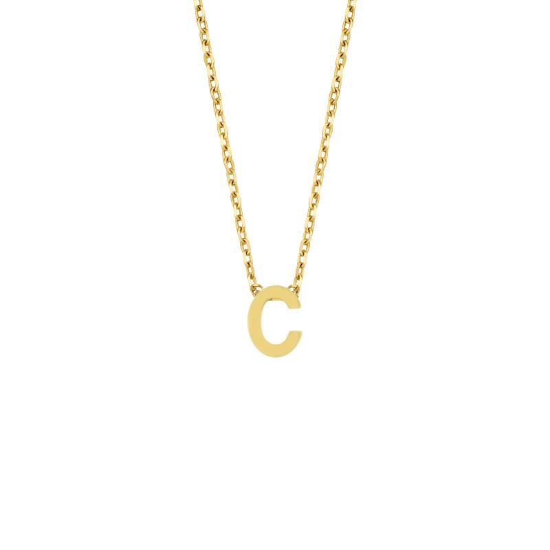 Geelgoud collier met de letter 'C'