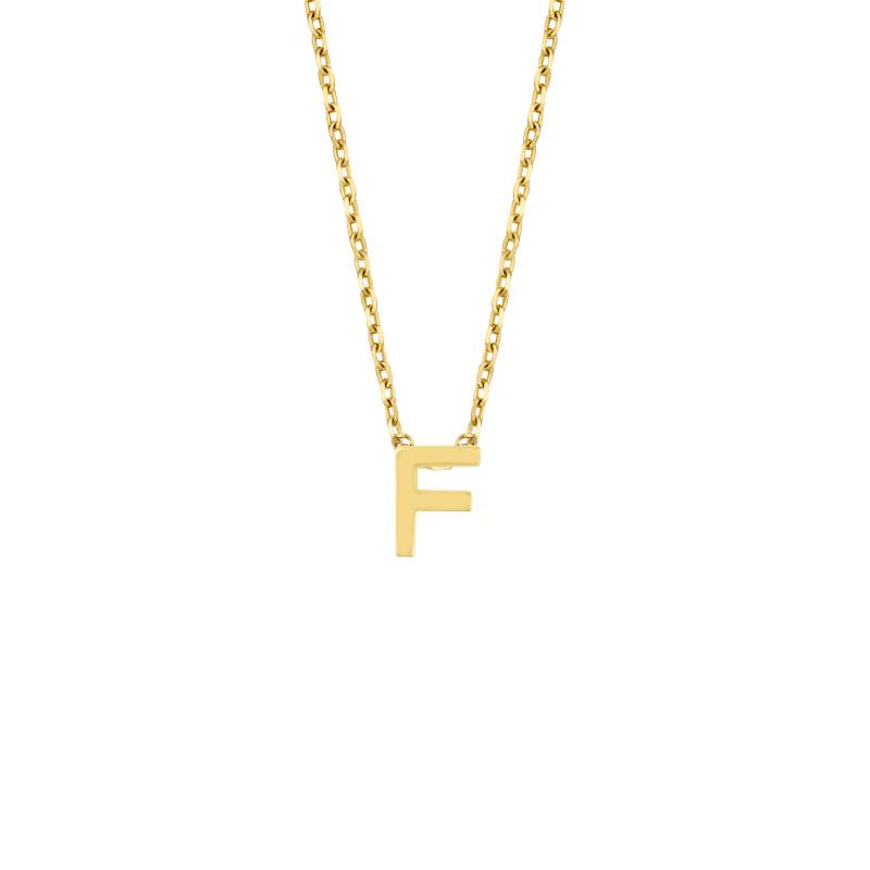 Geelgoud collier met de letter 'F'