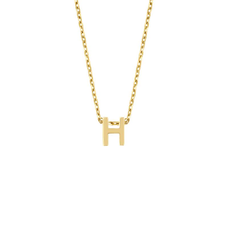 Geelgoud collier met de letter 'H'